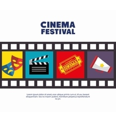 poster cinema festival strip film icons movie vector image