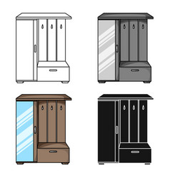 Vestibule wardrobe icon in cartoon style isolated vector