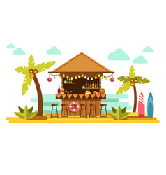 Beach bar cocktails in tropical resort for summer vector