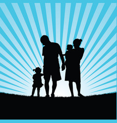 Family enjou with children in nature silhouette vector