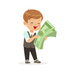 Happy little boy businessman holding a stack of vector