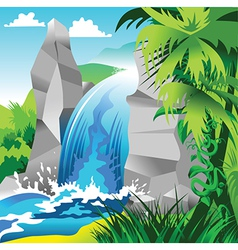 Waterfall landscape vector