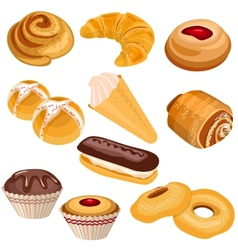 Set of pastry isolated on white vector