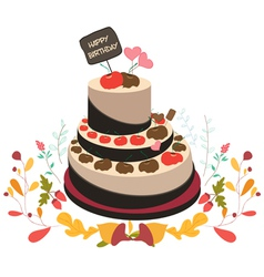 Happy birthday cupcake and florals vector