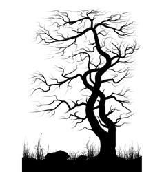 Silhouette of old tree and grass over white vector