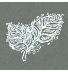 Doodle ink leaf pattern vector image