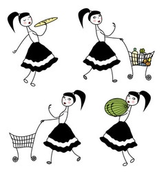 Girl character buying food vector