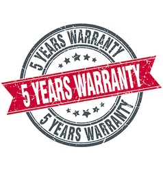 5 years warranty red round grunge vintage ribbon vector
