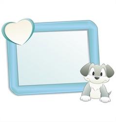 cartoon dog with frame vector image