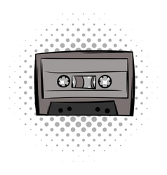 Audio cassete comics icon vector