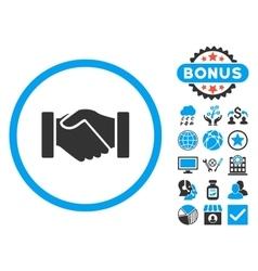 Acquisition handshake flat icon with bonus vector