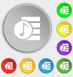 Audio mp3 file icon sign symbols on eight flat vector