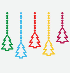 background with hanging christmas trees vector image vector image