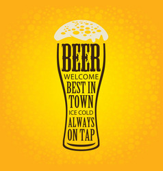 banner with glass of beer on a yellow background vector image