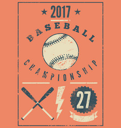 baseball typographical vintage grunge poster vector image