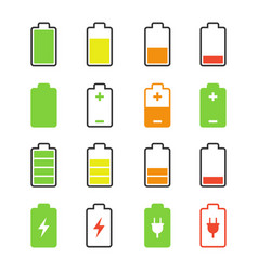 battery set charge and discharge rates icons vector image