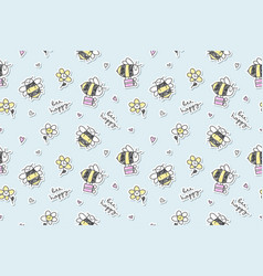bee happy seamless vector image vector image
