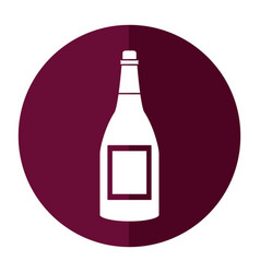 bottle wine alcohol drink shadow vector image
