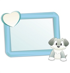 cartoon dog with frame vector image vector image