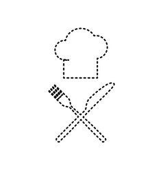 chef with knife and fork sign black vector image
