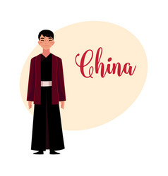 chinese man in traditional national costume black vector image vector image