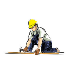 Color line sketch worker vector