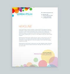 creative colorful circles letterhead design vector image vector image