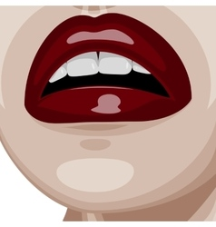 Dark red glossy lips and white perfect teeth vector