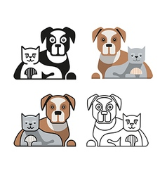 Dog and cat together vector