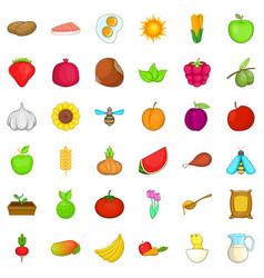Edible icons set cartoon style vector