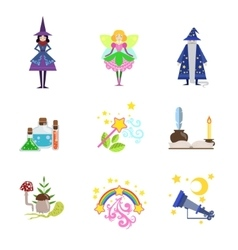 Fairytale Characters And Related To Them Objects vector image vector image