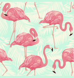 flamingo bird and tropical palm vector image vector image