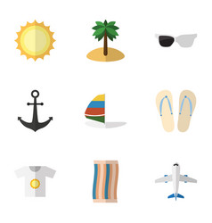 Flat icon summer set of wiper spectacles beach vector