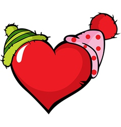 Funny heart with two cap - vector