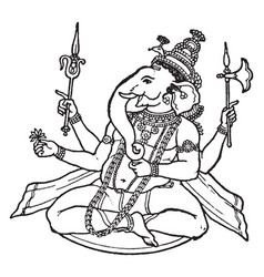 Ganesa hindu god vintage vector