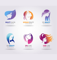 girls portrait - silhouette icons vector image