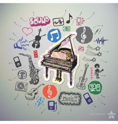 Hand drawn media icons set and sticker with piano vector image vector image