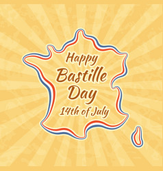 Happy bastille day and 14th july greeting card vector