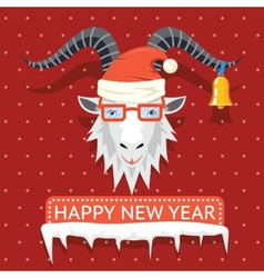 Happy New Year 2015 hipster goat vector image vector image
