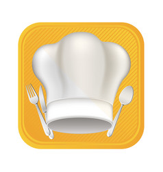 Hat with cutlery tools icon vector