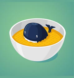 Large portion blue whale in the plate of food vector