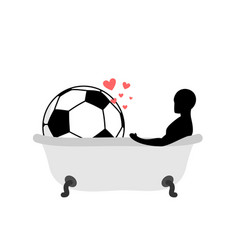 Lover soccer man and football ball in bath joint vector