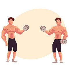 Man bodybuilder two variants of bicep workout vector