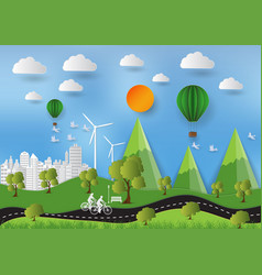 paper art style of landscape and people in city vector image