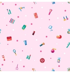 Pattern of flat design cosmetics make up icons vector image