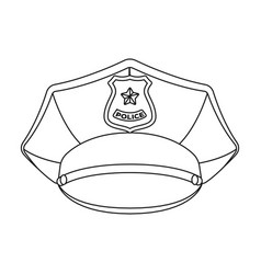 Police cap icon in outline style isolated on white vector