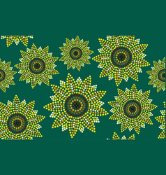 Seamless pattern graphic sunflower green vector
