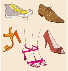 Shoes and legs vector image vector image