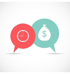 Time and Money Bag in Modern Flat Style Icon vector image vector image