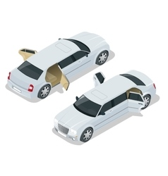 White limousine with open doors vip car vector